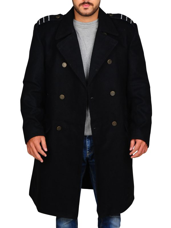 men black wool trench
