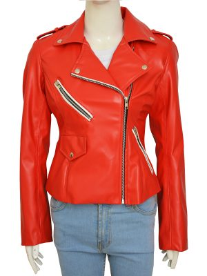 women stylish red jacket