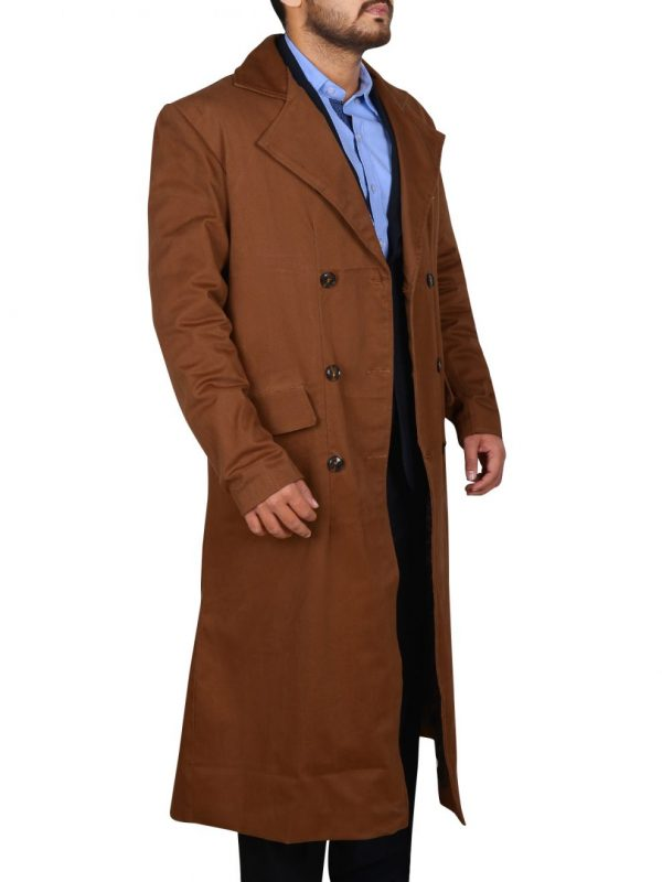 men brown peacoat