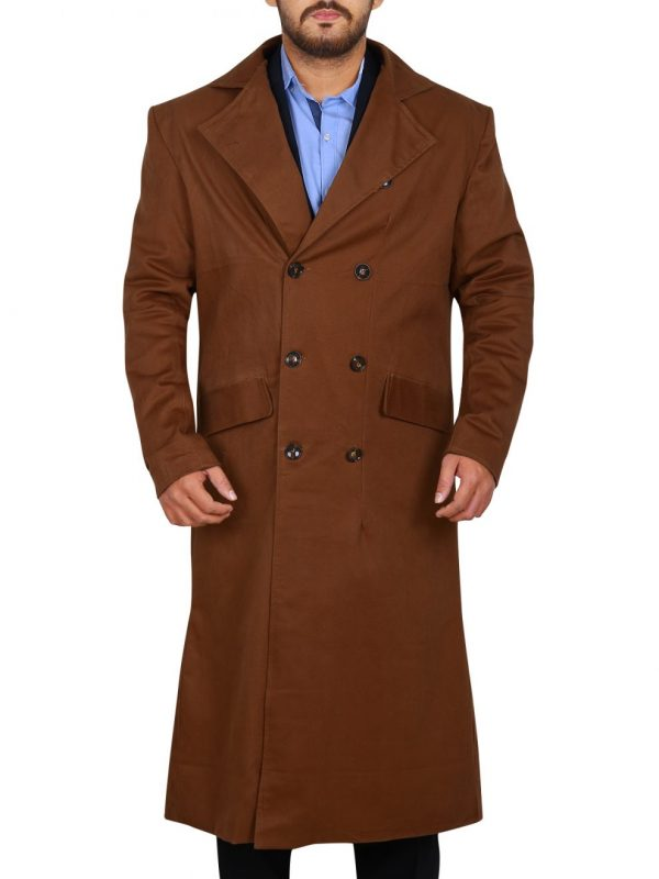 men brown wool long coat