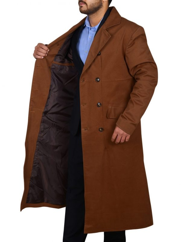 men brown wool trench