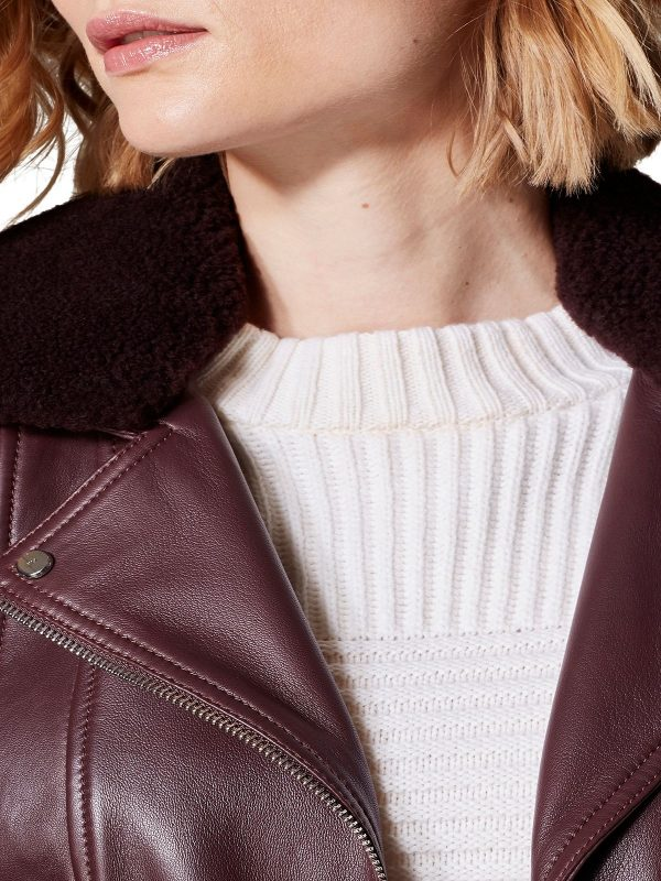 women brown fur leather jacket