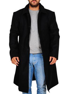 elegant men black long coat