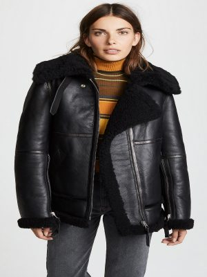 women shearling leather jacket