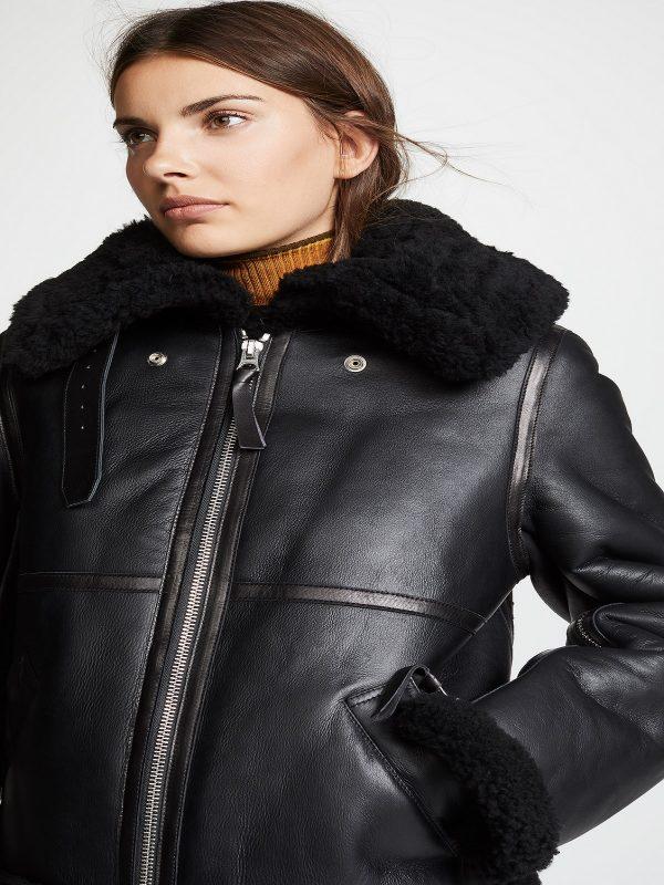 women black aviator leather jacket