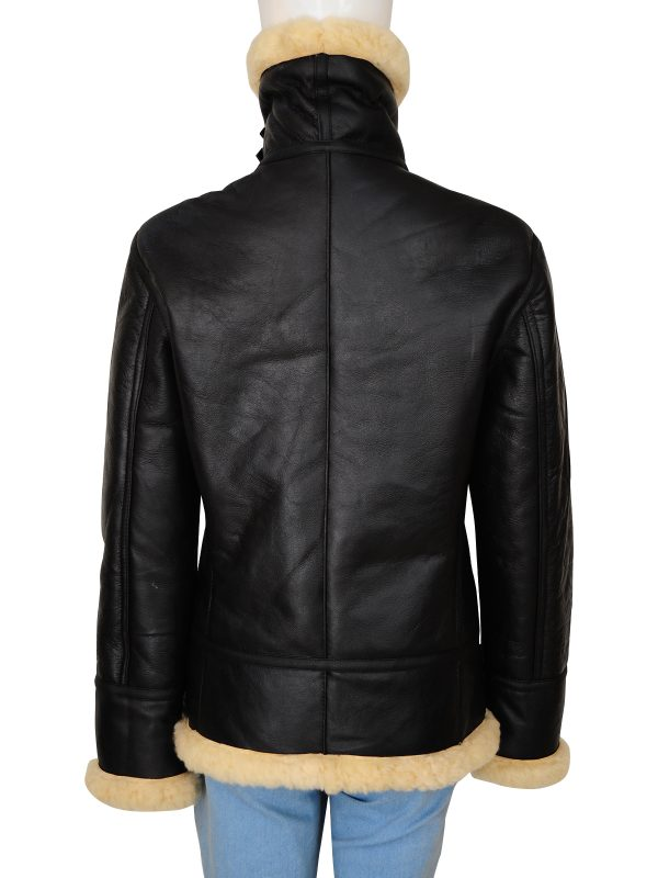 black b3 bomber women jacket, shearling b3 jacket for women,