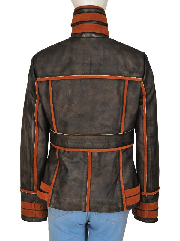 brown distressed leather jacket, women brown leather jacket,