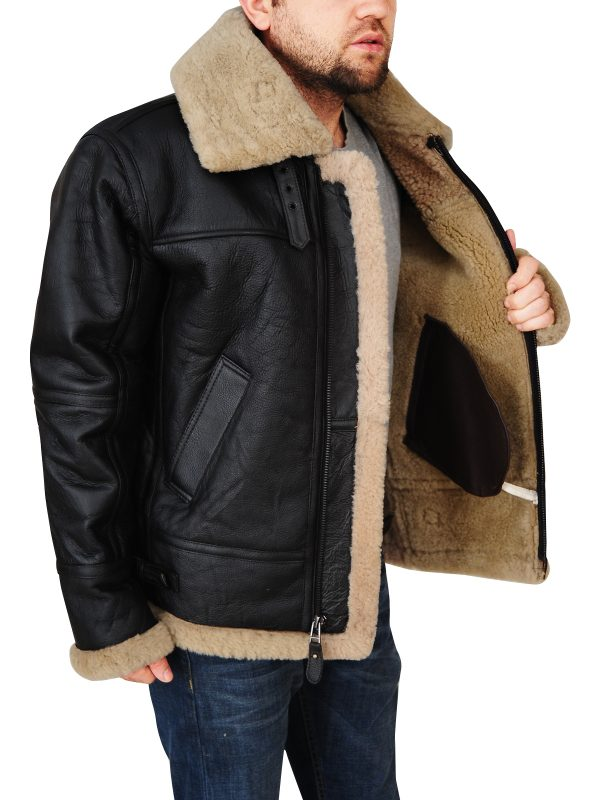 black b3 bomber shearling jacket, men's b3 bomber aviator jacket,