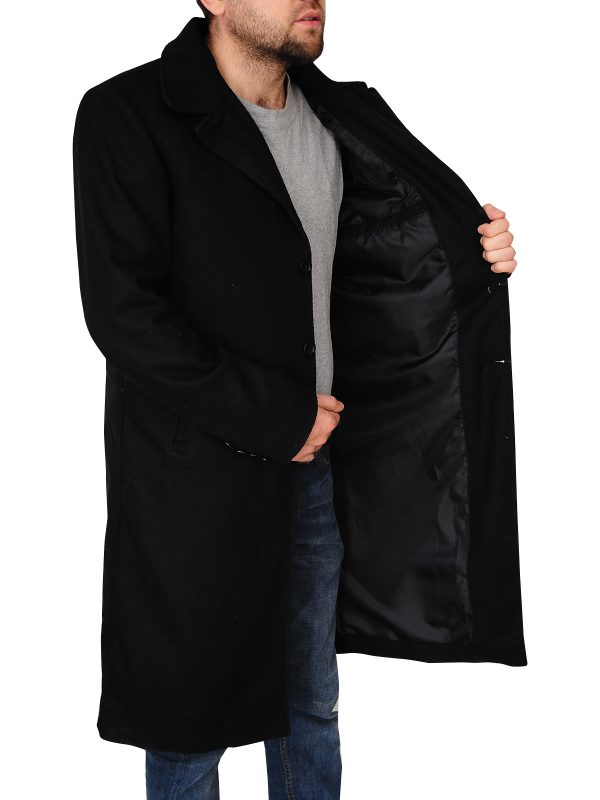 black wool coat for men, men black wool jacket,