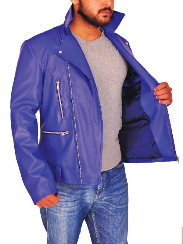 stylish blue leather jacket, men's blue leather jacket,