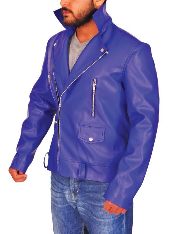 slim fit blue leather jacket, blue brando men jacket,