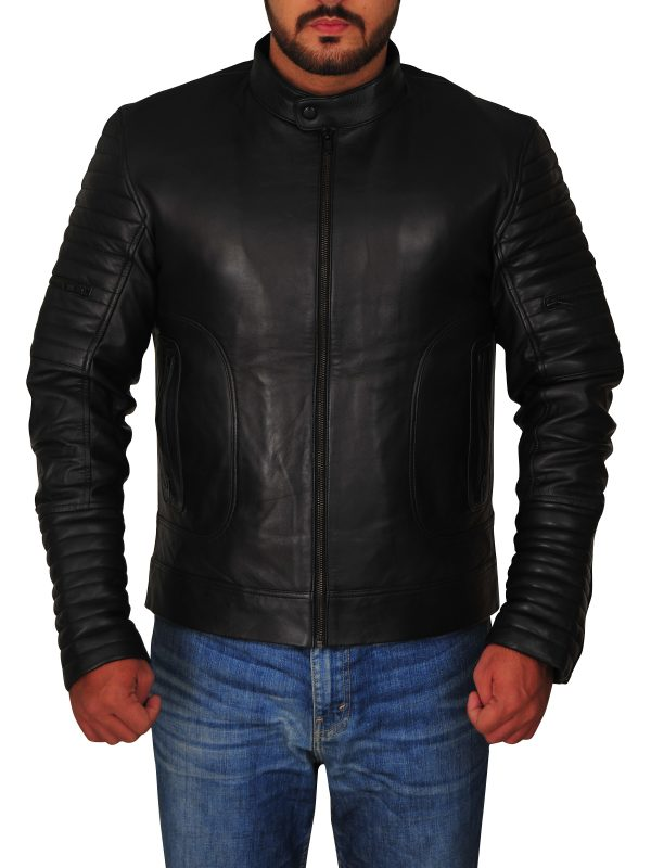 bod fitted black leather jacket, body fitted jacket for men,