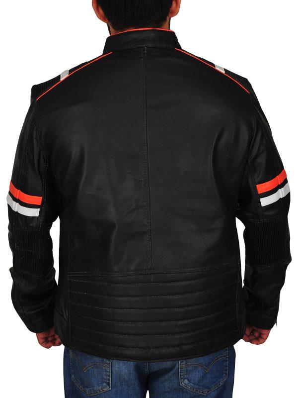 men's black biker jacket, bike rider leather jacket,