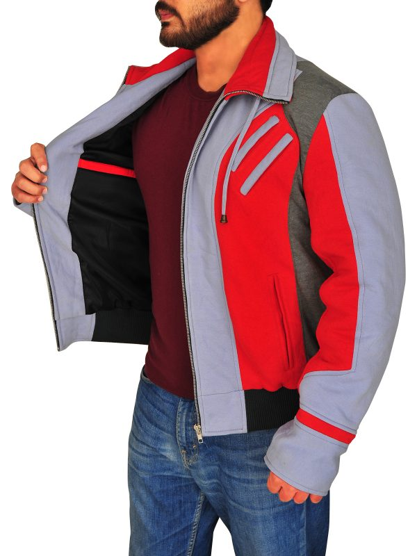 casual fleece jacket, red and grey jacket for men,
