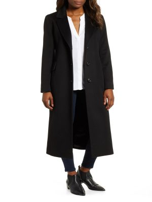 women black wool long trench