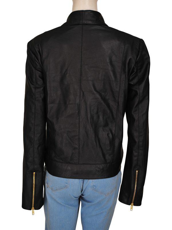 women black leather jacket, women's black leather jacket,