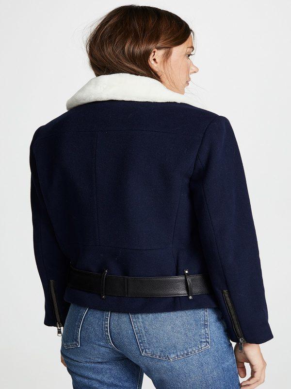 women blue faux jacket