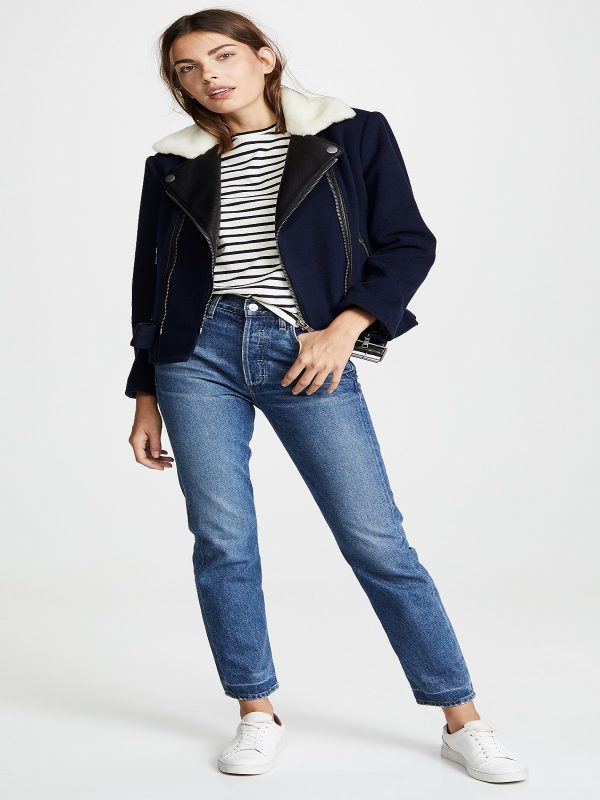 women dark blue leather jacket