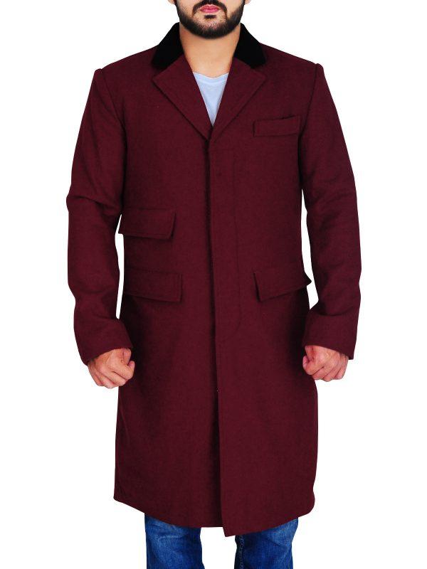 mauvetree men red wool coat, trendy maroon wool coat,