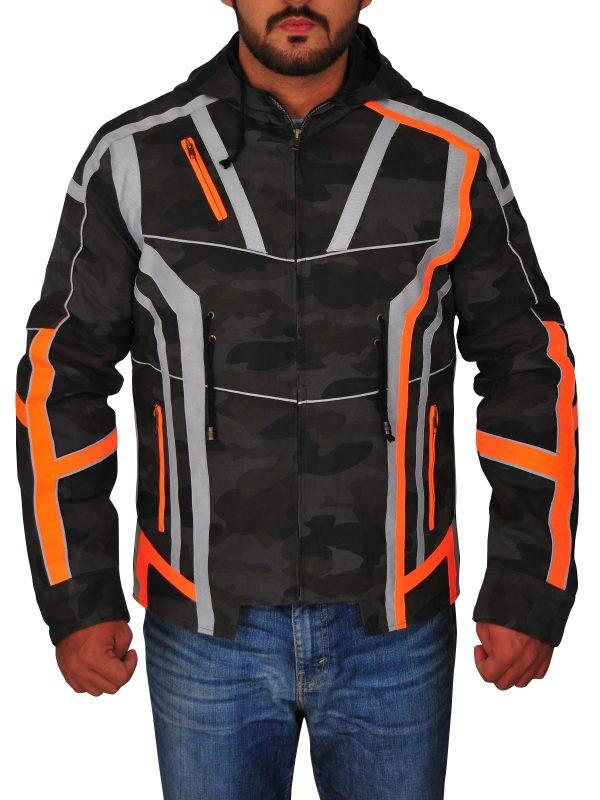 digital camo jacket, stylish men camo leather jacket,