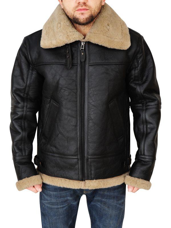b3 bomber leather jacket for men, stylish shearling leather jacket,