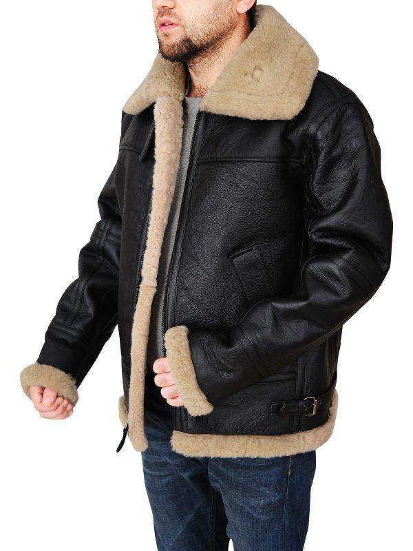 men raf aviator leather jacket, men black b3 bomber shearling jacket,
