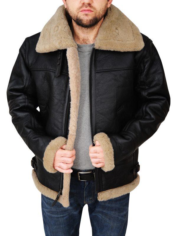 men black sheepskin leather jacket, men black b3 bomber sheepskin leather jacket,