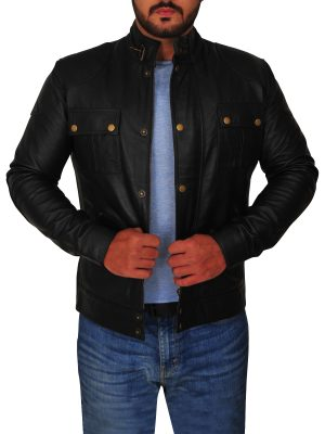 black leather jacket with buttons, classic black leather jacket for men,
