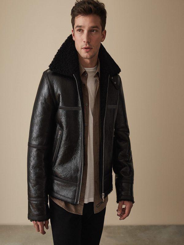 trending men black sheepskin jacket