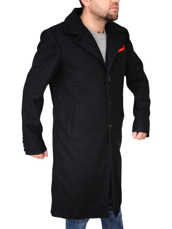 stylish black wool coat, stylish black wool long coat,