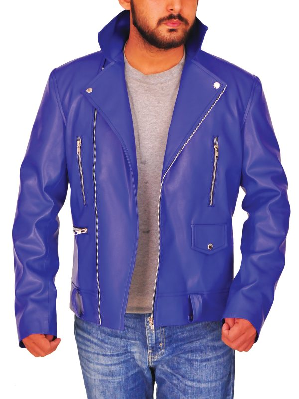 fashionable blue leather jacket, trending blue leather jacket,