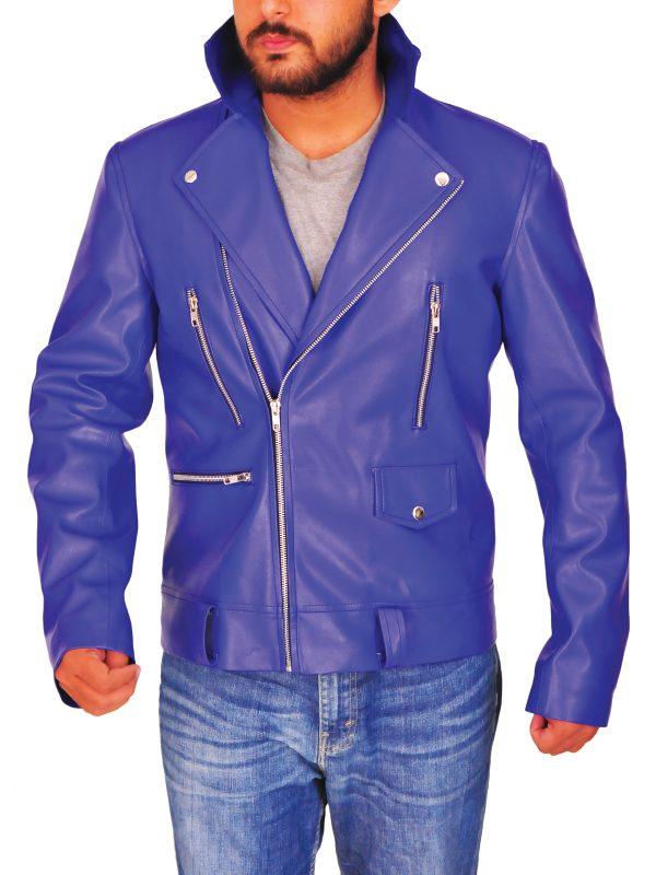 mauvetree blue leather jacket, mauvetree blue brando leather jacket,