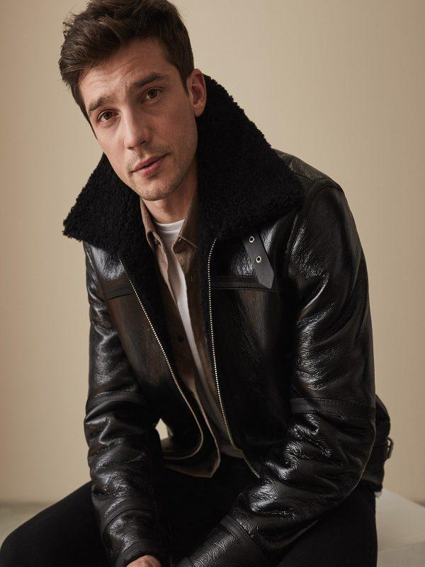 men pure black shearling jacket