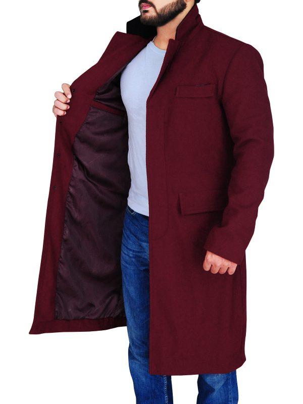 maroon wool coat for men, trending maroon wool coat,