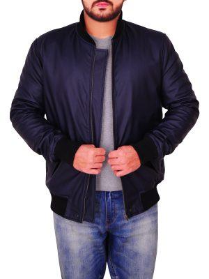 rib knitted varsity jacket, fashionable blue varsity jacket,