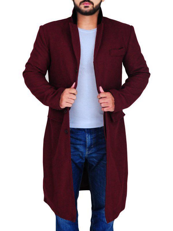 stylish men wool coat, maroon men wool coat,