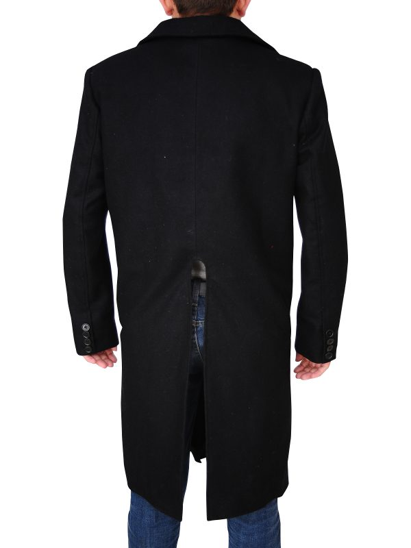 black wool long coat, men's black wool coat,