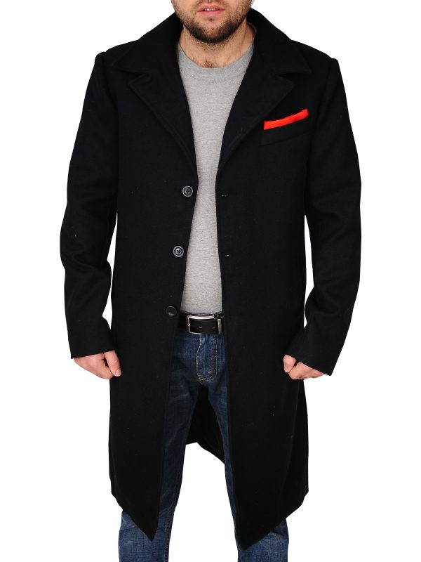 men's black wool long coat, black magician long coat,