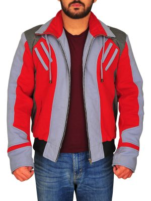 cool red and grey fleece jacket, casual fleece jacket for guys,