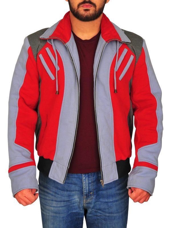 cool red and grey fleece jacket, casual fleece jacket for guys,