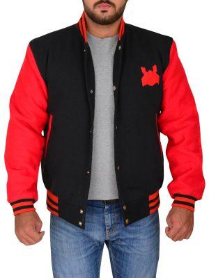 spider logo varsity jacket, red varsity jacket with spider logo,