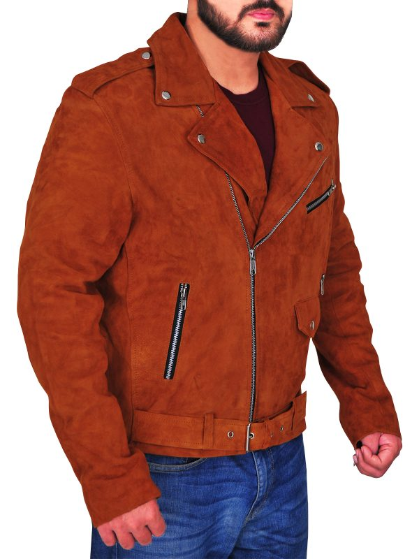 fashionable brown leather jacket, stylish brown leather jacket,
