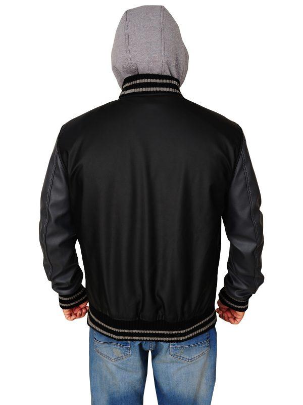 grey hoodie jacket, faux leather hoodie jacket,