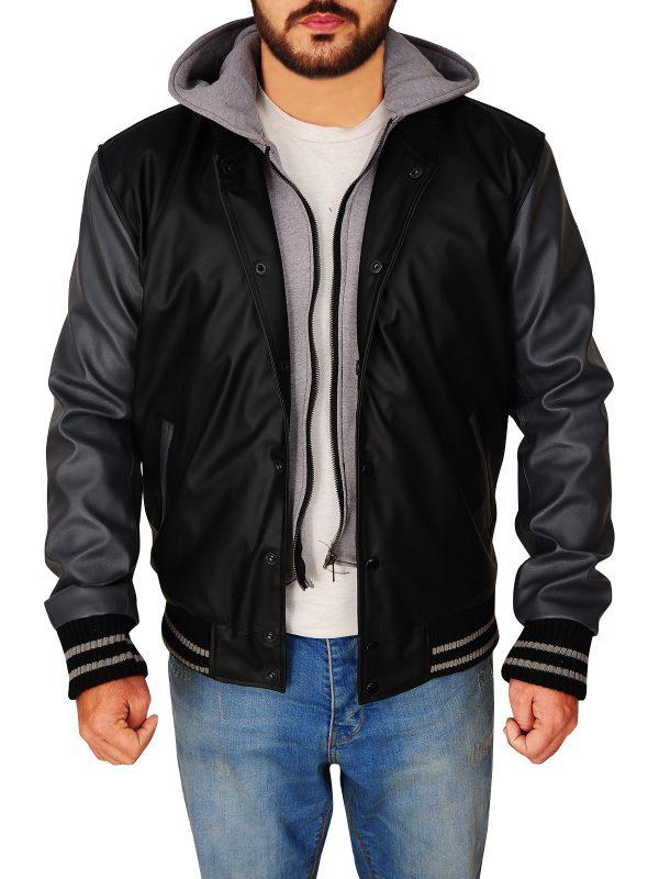 varsity black and grey hoodie jacket, varsity black and grey hoodie leather jacket,