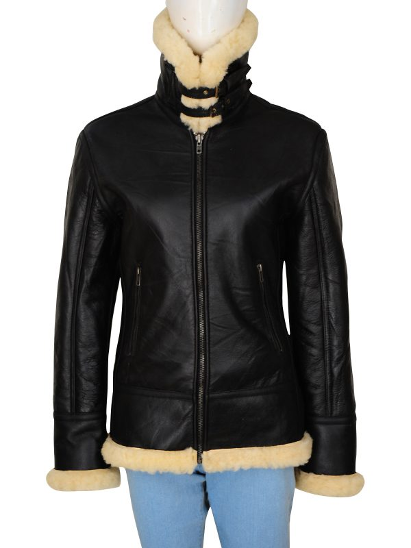 real shearling leather jacket, women sheepskin black leather jacket,