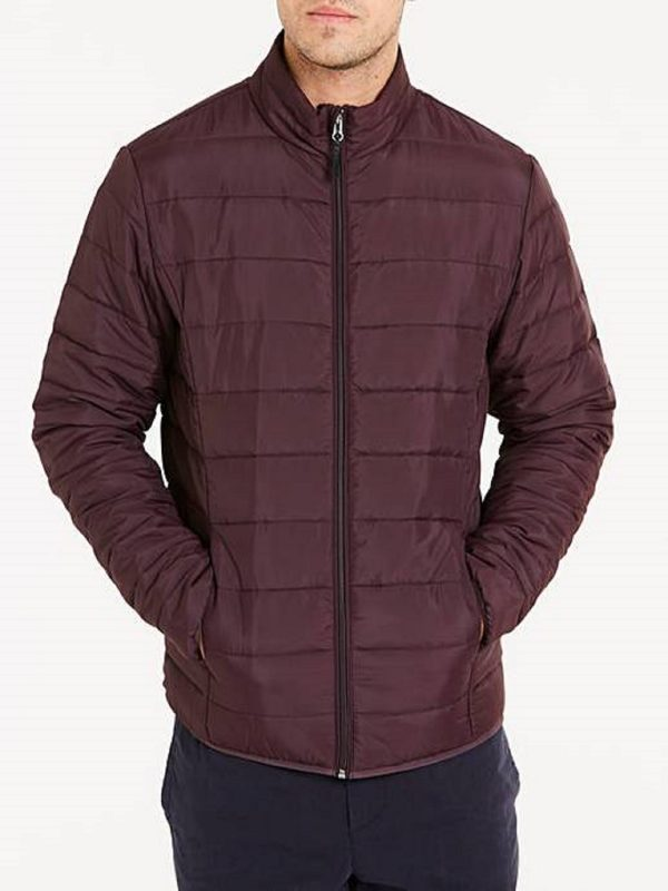 men maroon leather jacket