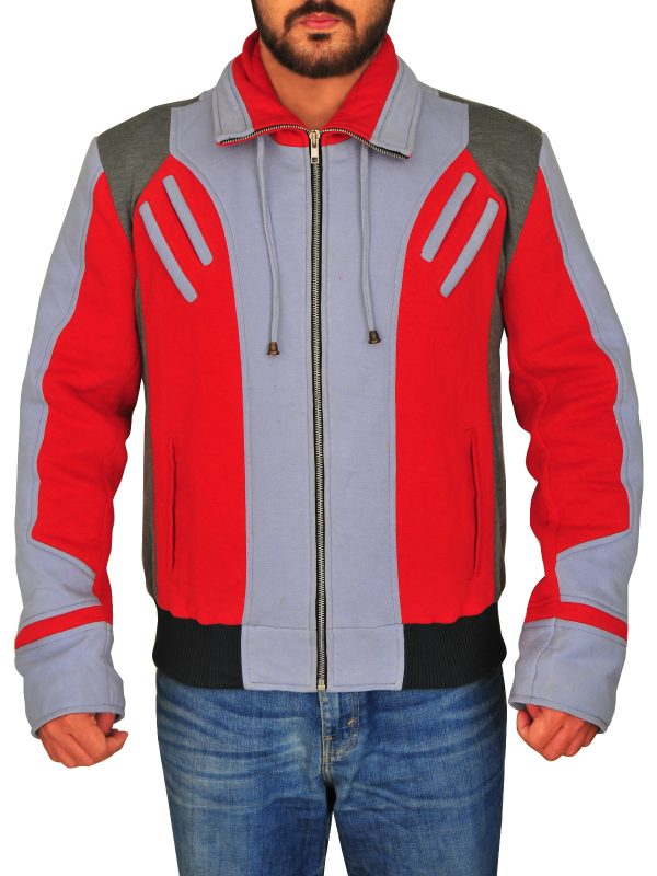 casual jacket in rd and grey, red and grey color fleece jacket,