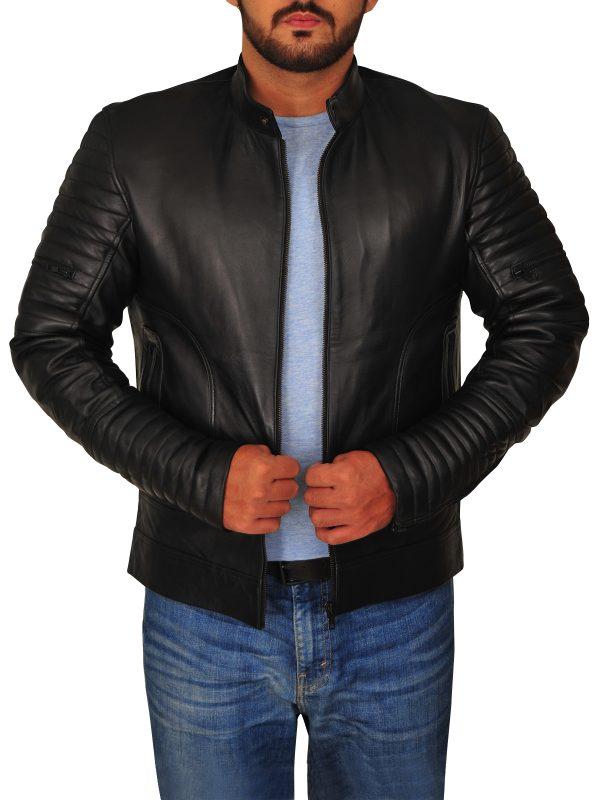 fashionable men leather jacket, fashionable men black leather jacket,