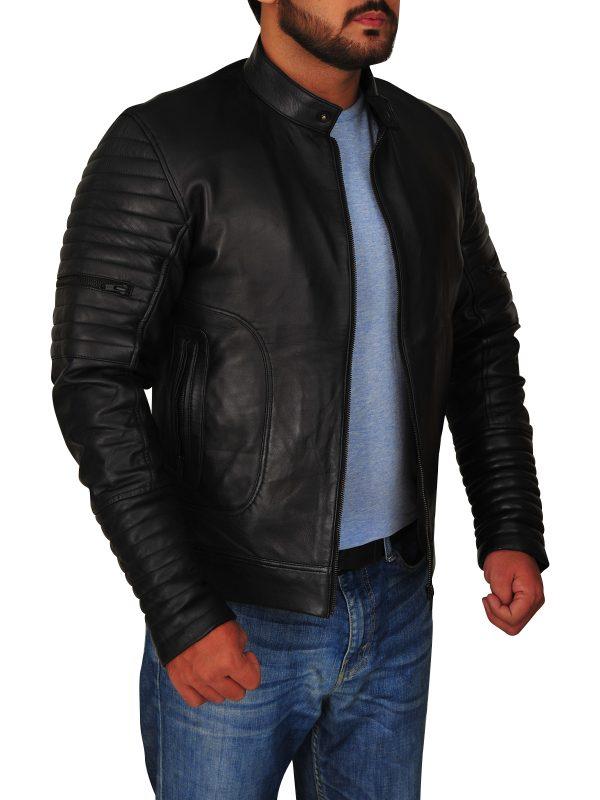 black biker leather jacket, men black biker jacket,