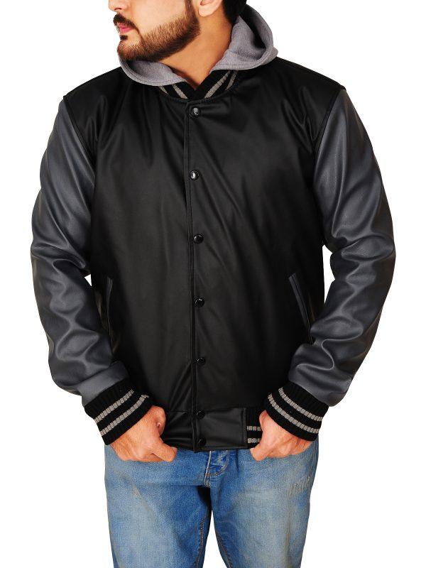 men black and grey hoodie jacket, men leather hoodie jacket,